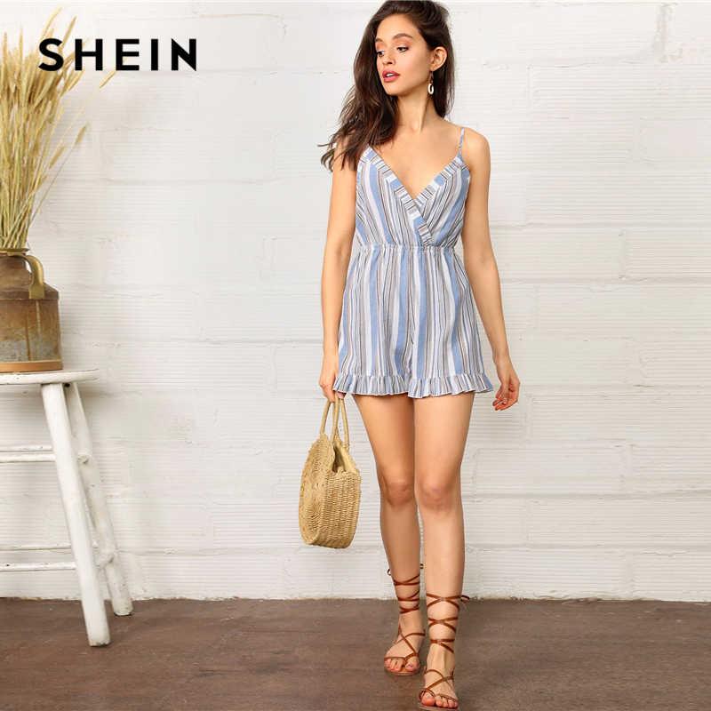 SHEIN Boho Сексуальный синий узел с оборками сзади обёрточная бумага полосатый комбинезон женский комбинезон летний пляжный стиль милый комбинезон