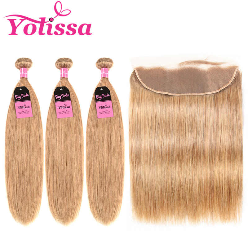 Yolissa Hair Colored Blonde Bundles With Frontal #27 Honey blonde 4Pcs/Lot Remy Hair colored bundles with closure