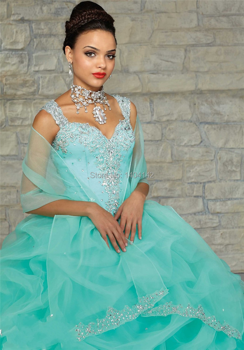 Cute Sweetheart Organza Pink Light Blue Quinceanera