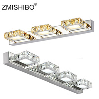 ZMISHIBO Square Crystal Mirror Front Lamp 3W 6W 9W 12W Champagne/White LED Wall Light 110V/220V Bathroom Lamp With IC Driver