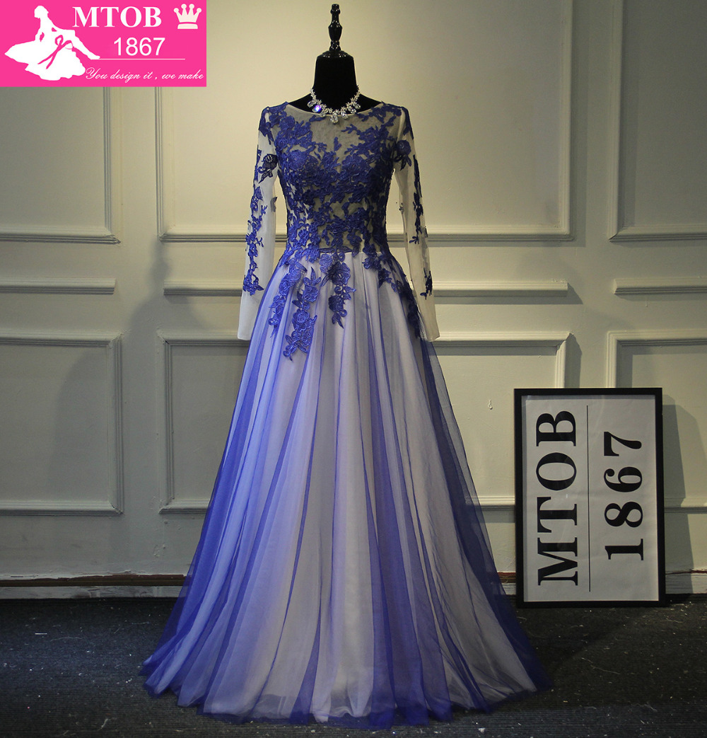 Fashionable Blue Soft Tulle Elegant Evening Dresses Lace A line Long Sleeves robe de soiree vestido