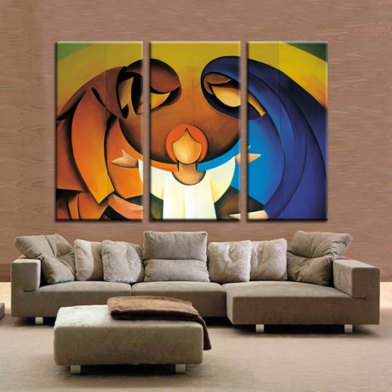MULTI PANEL CANVAS WALL ART modern oil painting printed 3 piece JESUS THE GODDESS AND THE BOY canvas prints abstract paintings-in Painting u0026 Calligraphy ... & MULTI PANEL CANVAS WALL ART modern oil painting printed 3 piece ...
