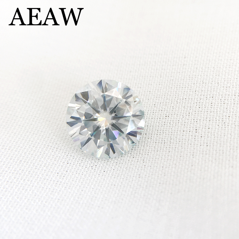 Round Brilliant Cut Moissanite 0.5 Carat 5mm Slight Blue Test Positive Lab Grown Diamond Loose Gems Stones Excellent Cut VVS1