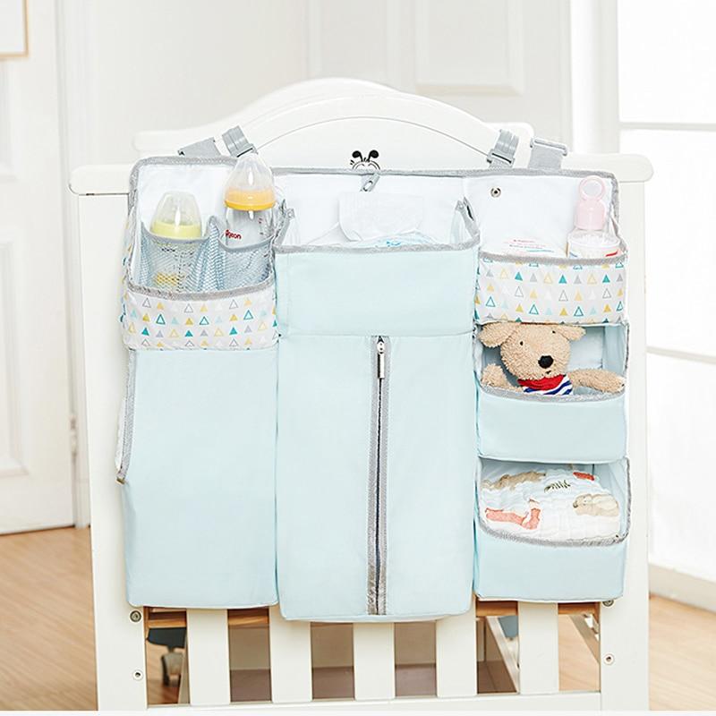 Blue Baby Crib Hanging Organizer Baby Bed Side Storage Bag Newborn Toy Diaper Stacker Bedding Set