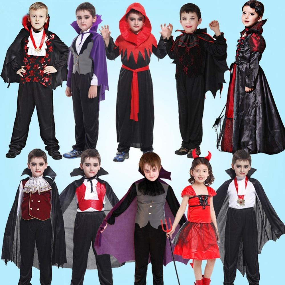 Unisex Children Halloween Vampire Costume Bat Dress up Red Devil Costume for Boys Girls vampire dance