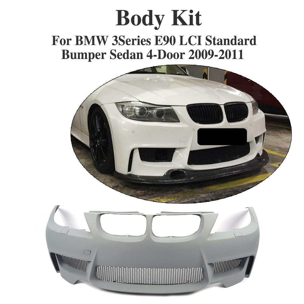 Aliexpress com buy front bumper body kit with carbon fiber front lip spoiler diffuser for bmw e90 standard sedan 4 door 05 11 1m style grey pu from