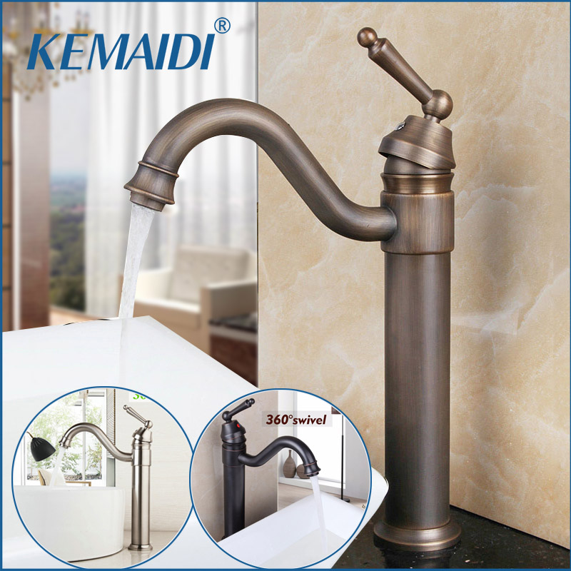 KEMAIDI Bathroom Wash BasinSwivel 360 ORB Antique Brass Rotated Steam Spout Deck Mounted Tall Sink Mixer