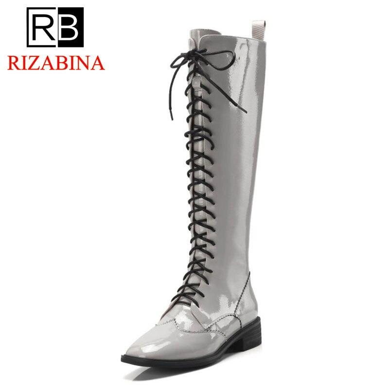 Rizabina Größe 39 Strap Kniehohe Wohnungen Beige Reiten Cross Zipper 34 schwarzes Spitze Für Frauen Stiefel Up Winter Fashion Schuhe a4rwBaq6