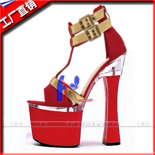 ФОТО Women fashion shoes 2016sexy 7 inch red bottom sandals T-strap style high heel shoes 18cm pole dancing shoes plus size 5-12