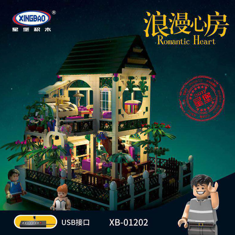 XingBao 01202 1500Pcs with Light USB Romantic Heart of The Two Floors Building Blocks Bricks for children's Toys Education Gifts two from the heart