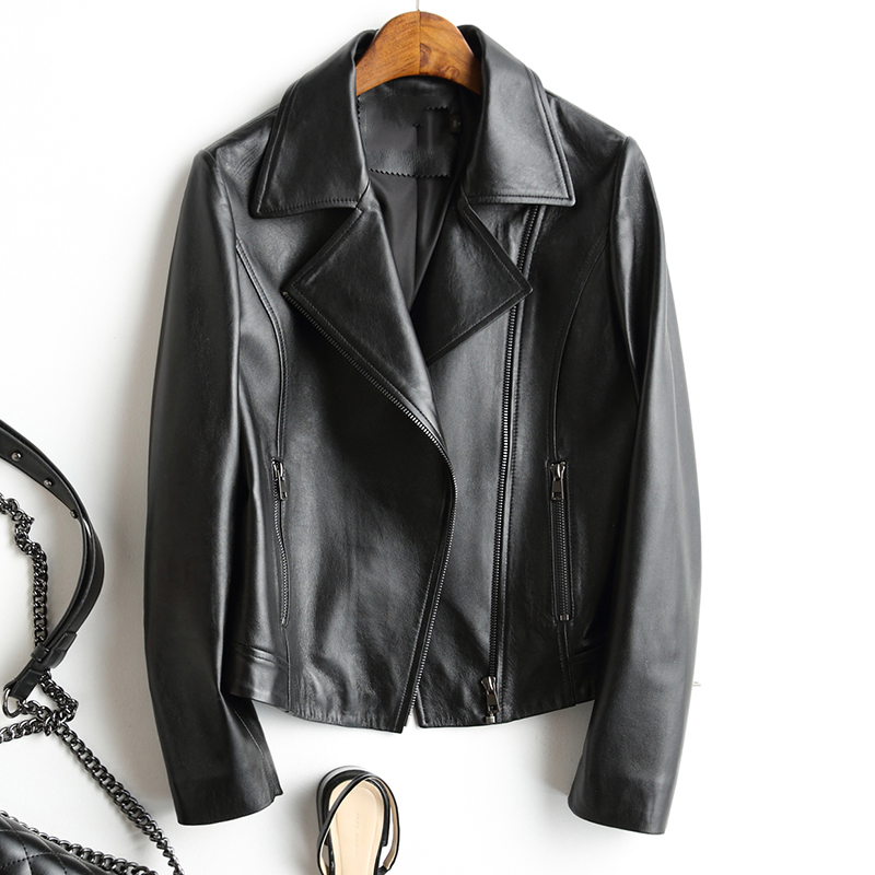 2019 Spring and Autumn Fashion natural genuine sheepskin Leather Motorcycle Clothing Design Slim Female Short Coat Women Jacket