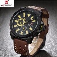 NAVIFORCE fashion sports watches men leather strap analog army military quartz wristwatches auto date clcok relogio masculino