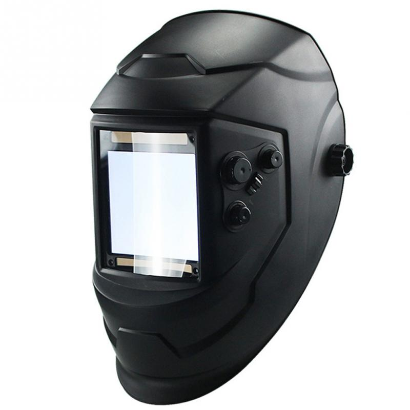 Pratical Welding Helmet 4 Arc Helmet Big View Auto Darkening Grinding Solar Welding Mask Welder Cap red standard design solar welding helmet auto darkening electric grinding welding face mask welder cap lens cobwebs and skull