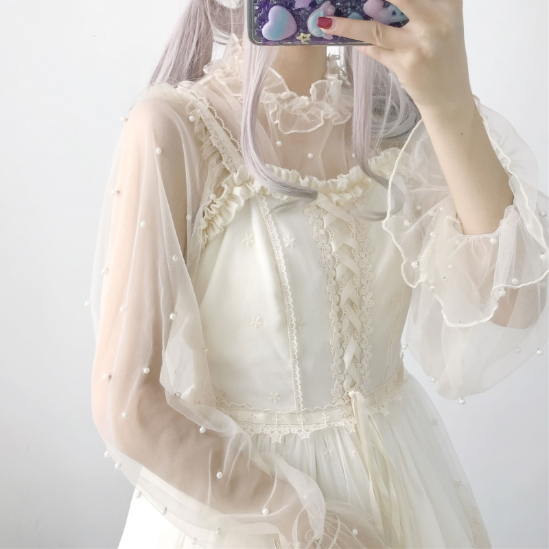 Sweet Women's Lolita Chiffon Inner Shirt Beading Trim Puff Sleeve Perspective Blouses Cute Colors Grey/Beige Fairy Kei