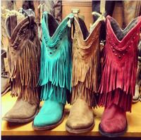 2018 New Arrivals Long Fringe Cover Women Fashion Mid Calf Boots Genuine Cow Leather Square Low Heel Cowgirl Style Ladies Boots