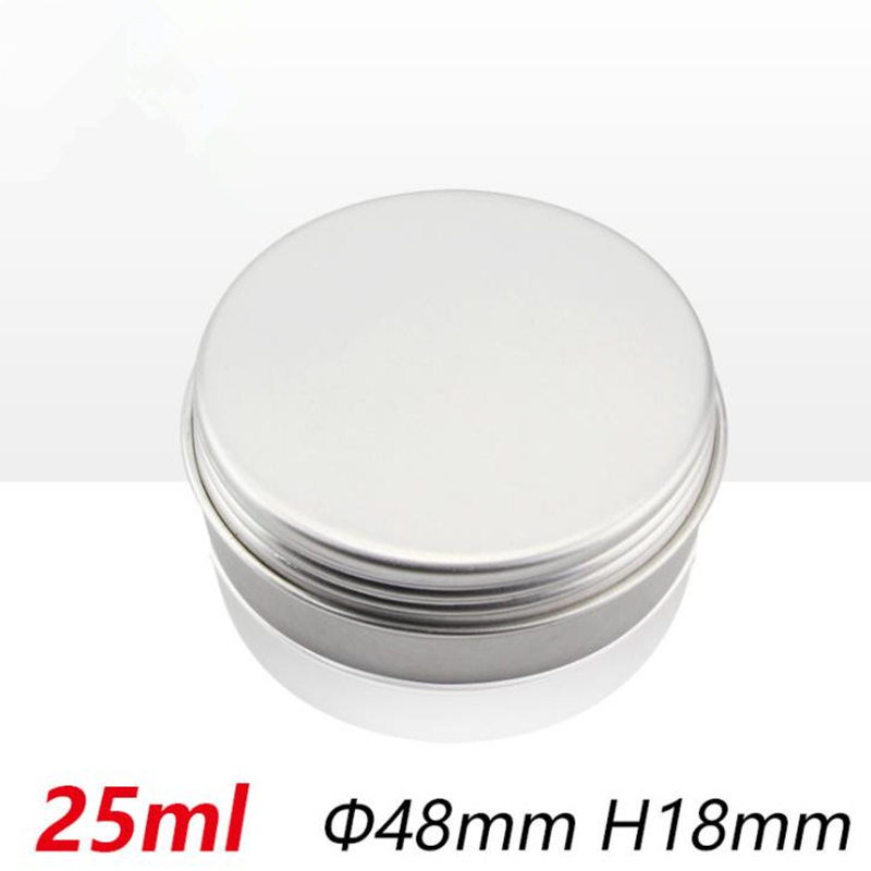 <font><b>25ml</b></font> Empty Aluminum Cans Silver Round Cosmetic Cream Jar Hair Wax Case Lip Balm <font><b>Container</b></font> Makeup Tin F20173883 image