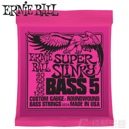 Ernie Ball 2824 Super Slinky 5-String Nickel Wound Electric Bass Strings 40-125 ernie ball extra light nickel wound струны для электрической гитары 10 50