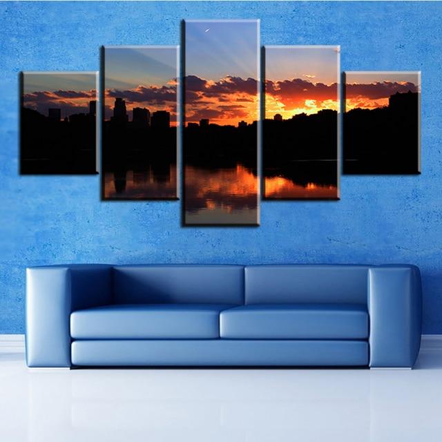 5 pcs one set minneapolis sunset NO FRAME Oil Painting Canvas Prints ...