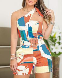 المرأة الصيف بذلة قطعة واحدة وزرة مثير واحد الكتف معقود التفاصيل مجردة طباعة السروال القصير السيدات Playsuits الشارع الشهير