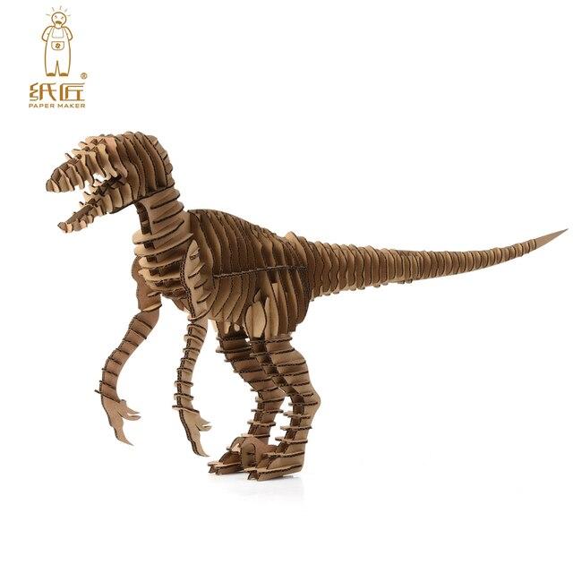3d puzzle dinosaur diy raptor model paper craft kids cardboard animal toys velociraptor cool christmas best