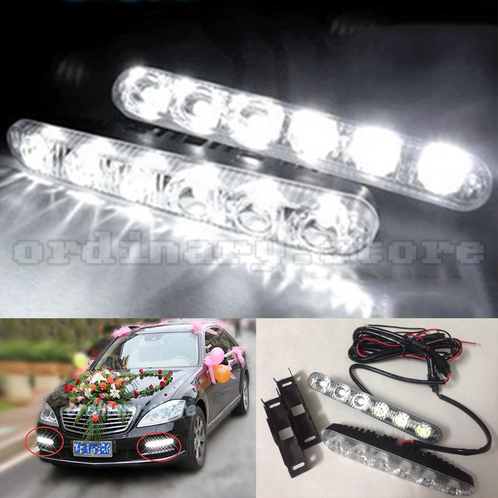 1 Pair Super White Bright 12W 6 LED Car Headlight Daytime Running Light DRL Fog Driving Safety Daylight Head Lamp Waterproof newest update 12w led daytime running light switch waterproof 9led drl car driving fog light lamp 12w high super lighting white