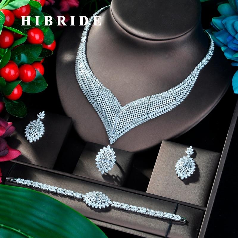 HIBRIDE New Luxury Design CZ Dubai Wedding Bridal Jewelry Sets For Wedding Accessories Jewelry Necklace Bangle Sets N-799HIBRIDE New Luxury Design CZ Dubai Wedding Bridal Jewelry Sets For Wedding Accessories Jewelry Necklace Bangle Sets N-799