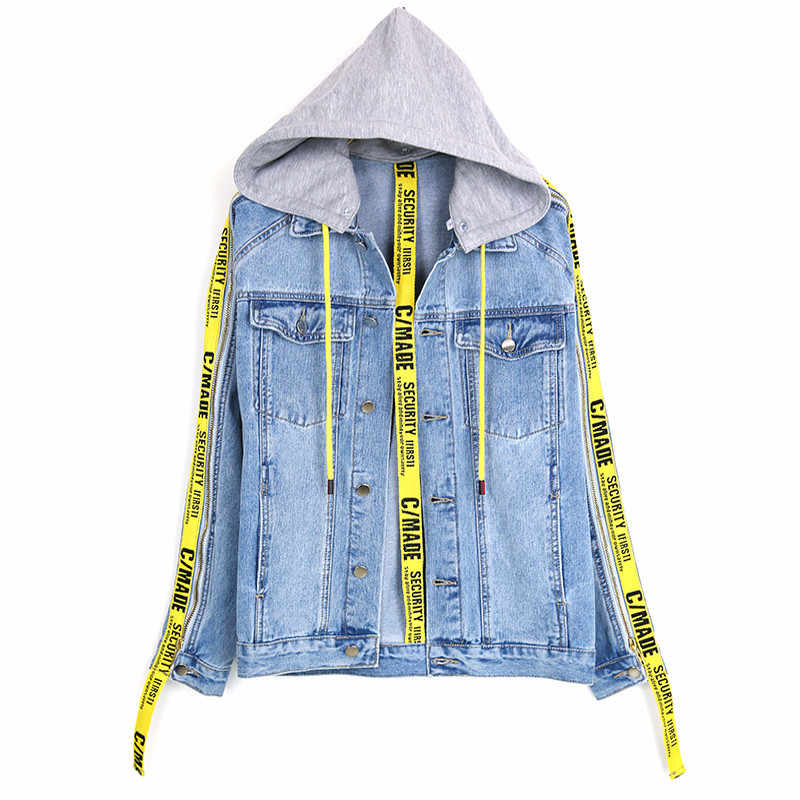 e921e9c484c3 Denim Jacket Men Gold Ribbon Patchwork Ripped Men s Jacket Cowboy Casual  High Street Fashion Outwear Pocket