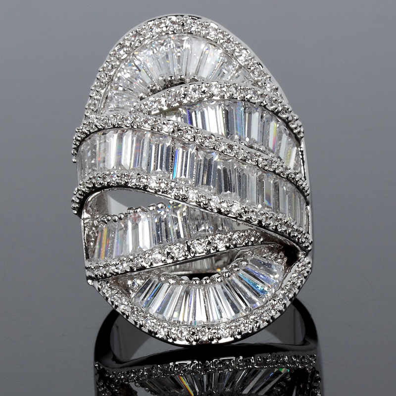 wedding rings real gold plated with cubic zirconia crystal luxury rings high quality large rings free shipping fine jewelry in rings from jewelry - High Quality Cubic Zirconia Wedding Rings
