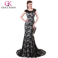 Grace Karin H4422 Long Mermaid Lace Prom Dresses Elegant Sleeveless Black Elegant Women Formal Dresses