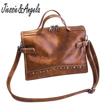 Jiessie & Angela Vintage Women Bag Big Casual Tote Handbags Luxury Brand Leather Fashion Shoulder Messenger Bags