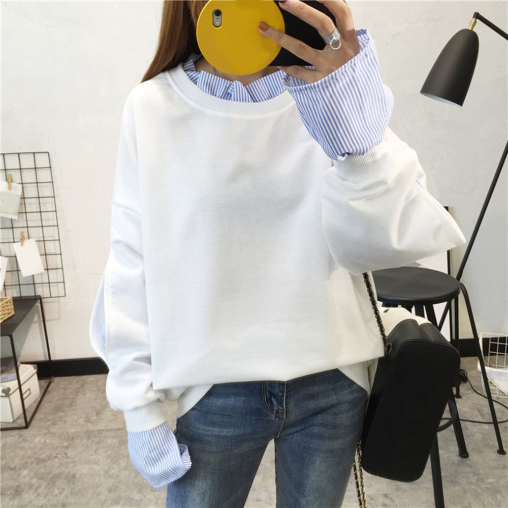 Autumn Women Pullovers Fashionable Design O Neck White Stitching Pullover Tops 2017 Winter New Students split sleeve Sweatshirt