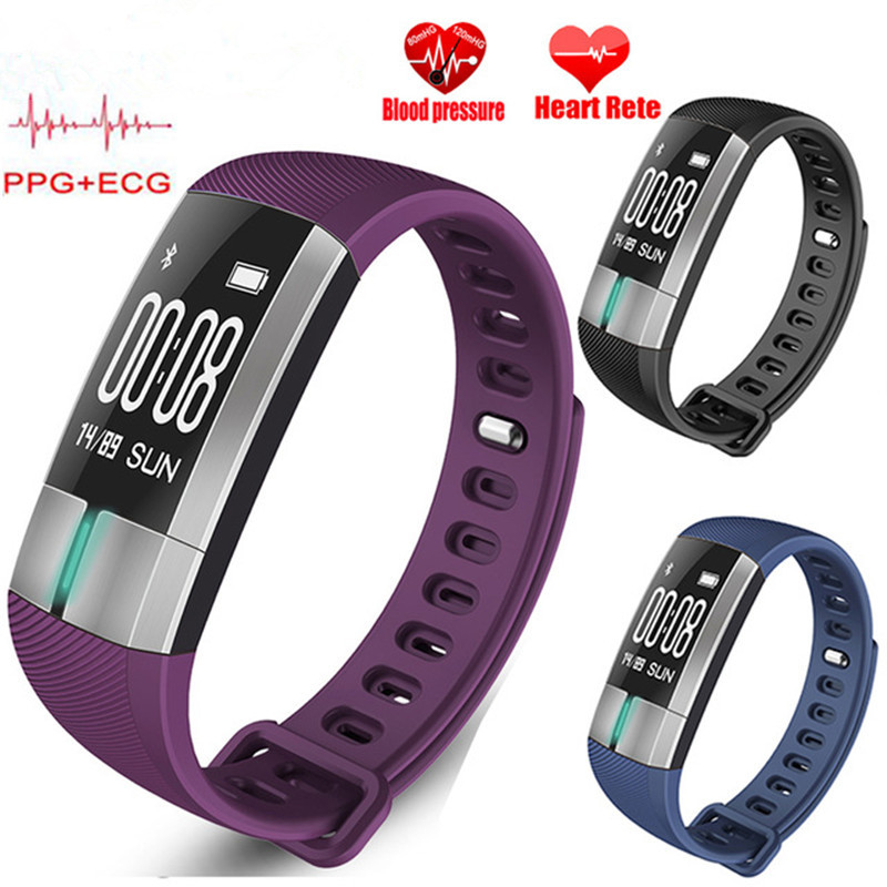 Smart Wristbands PPG +ECG Heart Rate Monitor Blood Pressure Smart Bracelet Pedometer Sleep Monitor Fitness Sports Watch for Men 2018 new ppg ecg heart rate monitor smart wristbands sport wearable devices smart bracelet pedometer sport watch men woman