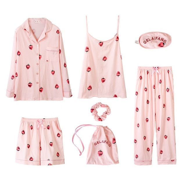 Women's 7 Pieces Pajamas Set Cotton Soft Ladies Sleepwear Sleep Lounge Homewear Pyjamas Nighties Sleepshirts Top Shorts Pants