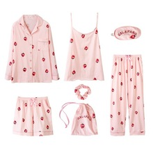 Women's 7 Pieces Pajamas Set Cotton Soft Ladies Sleepwear Sleep Lounge