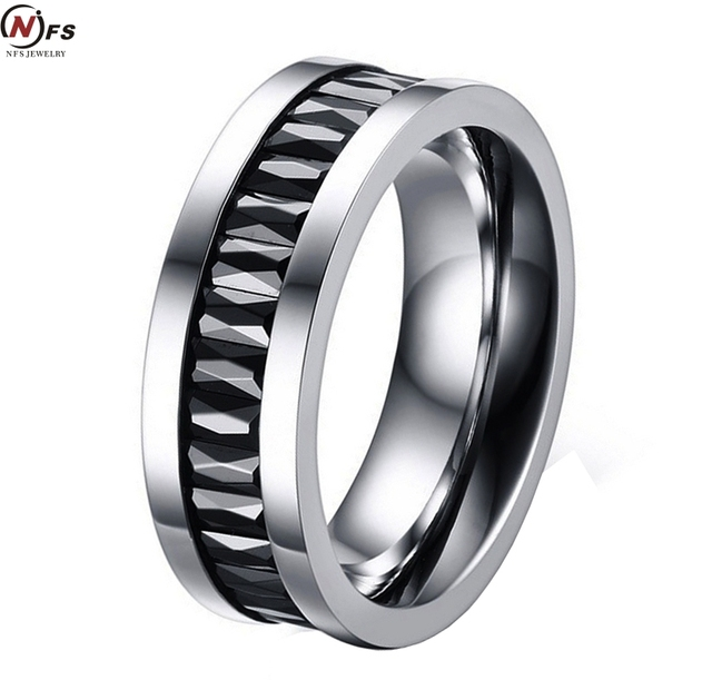 Nfs Black Crystal Pure Tungsten Steel Rings 7mm Carbide Men S Ring Wedding Bands