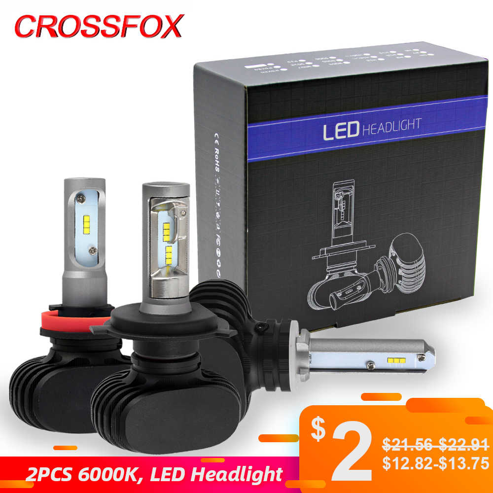 CROSSFOX Car Bulbs LED 9007 9004 H13 H1 H3 H11 9005 HB3 9006 HB4 880 881 H27 H7 H4 LED Headlight Lamp Auto Light CSP  12V 6000K