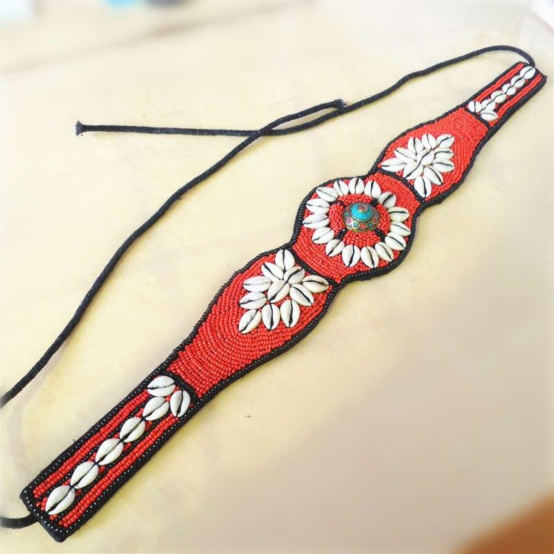 HDC0658 Tibetan Hand Sewed Tribal Belts Colorful Shell Fashion Wide Beaded Waistband Cloth Decor Belt