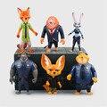 6 unids/lote 10 Zootopia de 11 cm PVC Figura de Acción Modelo, Zootopia Robbit Juddy Fox Jack Figura de Juguete, Anime Brinquedos, Juguetes de los niños