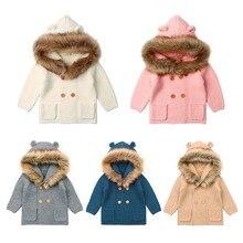 Winter Warm Newborn Baby coat Fur Hood Detachable Grey Infant Boys Girl Knitted