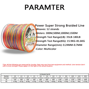 Image 2 - Power 12 Strands Braided Fishing Line 300m 500m 1000m 1500m Multicolor Super Strong Japan Multifilament PE Braid Line 35LB 180LB