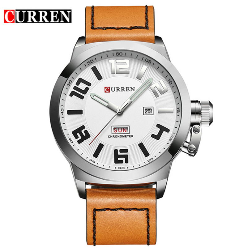 Curren Mens Watches Top Brand Luxury Leather Strap Quartz Men Watch Men's Fashion Casual Sport Date Wristwatch Relogio Masculino hongc watch men quartz mens watches top brand luxury casual sports wristwatch leather strap male clock men relogio masculino