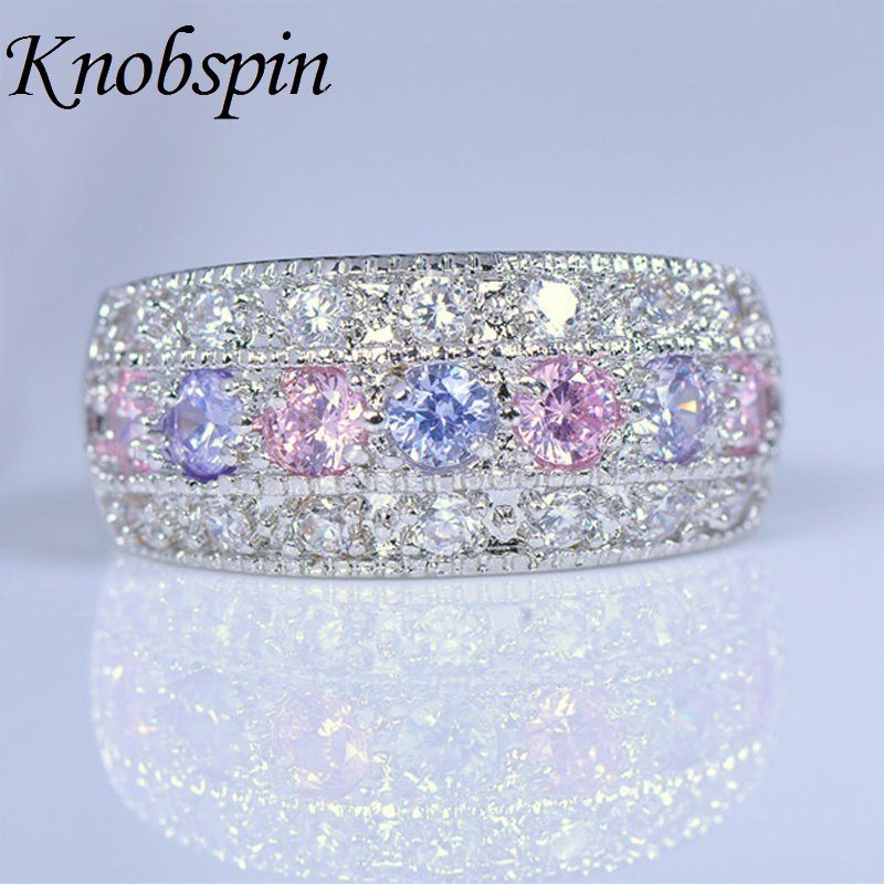 Women Pink Purple Ring Bohemian AAA Cubic Zirconia Filled Jewelry Romantic Engagement Rings Promise Rings For Couple