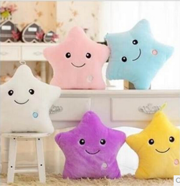 1 Piece 40*35cm Stuffed Dolls Soft Lighting Pillow Star Heart Light Colorful Pillows Cushion Office Popular Plush Toys