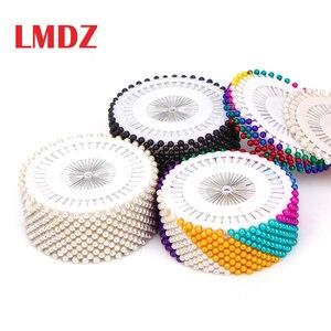 Lmdz 40/120/240/480Pcs Naaien Pinnen Rechte Nietstiften Kleurrijke Witte Ronde Parel Hoofd dressmaking Quilten Pins Voor Ambachten(China)