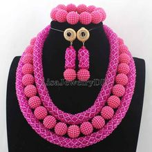 Latest Hot Pink Crystal Beads African Jewellery Set Women Chritmas Gift Nigerian Party Beads Necklace Sets Free Shipping HD7720