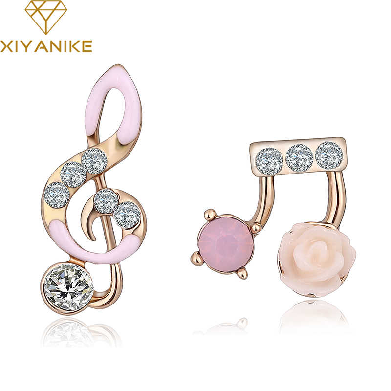 New Music Note Stud Earrings Fashion Accessories Crystal Rhinestone Earrings Jewelry Women Gift Free Shipping Brincos XYE520