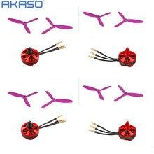 AKASO 4 Pcs 2204 2300KV Brushless motor + 4pair purple 5045 Propeller 3 Blade Props for  Quadcopter RC QAV250 ZMR250 DRQ250 FPV