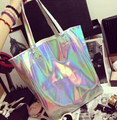 2015  Shopper beach bag designer handbags high quality women's flat silver laser handbag harajuku hologram bag