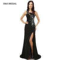 H&S BRIDAL Black One Shoulder Side Slit Sexy Women Formal Evening Gowns Long Sequins Beaded Evening Dresses