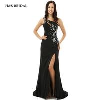 H S BRIDAL Black One Shoulder Side Slit Sexy Women Formal Evening Gowns Long Sequins Beaded